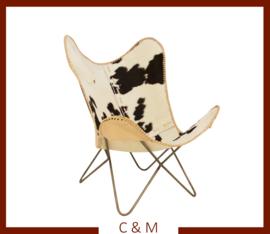 Butterfly stoel Zwart-Wit koeienhuid