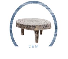 Carved tafel Zwart/Wit