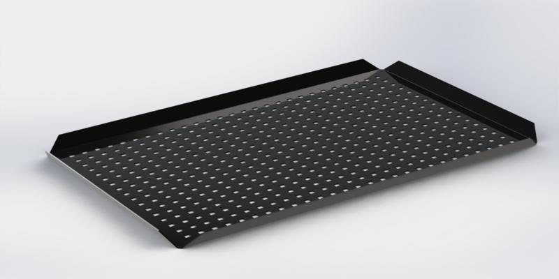 Zwarte plateau hoge boorden 40 cm x 60 cm x 2 cm  GEPERFOREERD