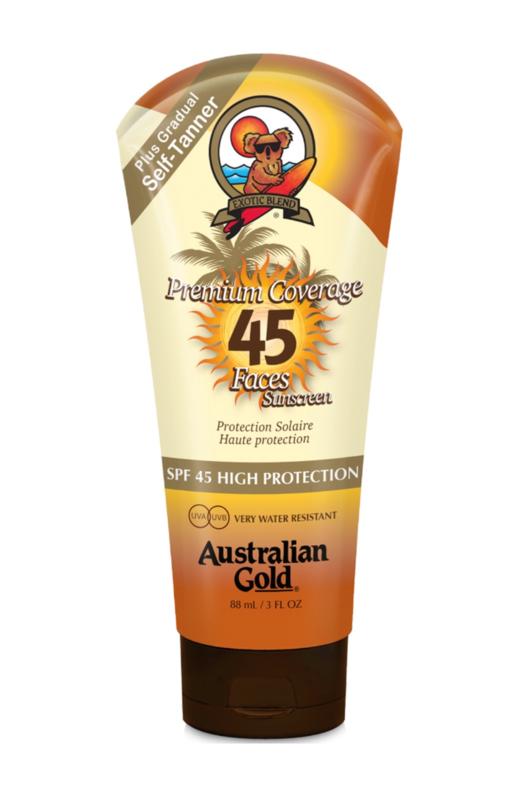 Australian Gold SPF 45 Premium Coverage Faces met Zelfbruiner