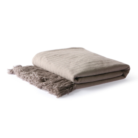 HK LIVING 'COTTON ZIGZAG THROW TAUPE'