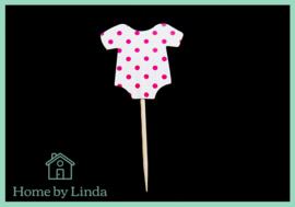 Cupcake topper romper met roze stippen 4 cm x 4 cm (set van 12 stuks)