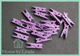Mini knijpers donkerpaars 2,5 cm (set van 20 stuks)