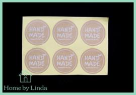 Stickers Hand made rond bruin 3,5 cm (set van 6 stuks)