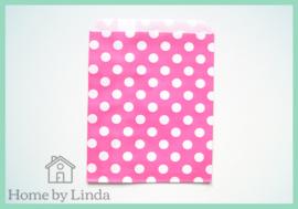 Papieren zakjes roze met witte stippen 13 cm x 18 cm (set van 10 stuks)
