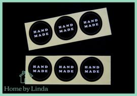 Stickers Hand made rond zwart 3,5 cm (set van 6 stuks)