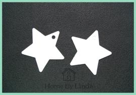 Label ster wit kraft 6 cm (set van 10 stuks)