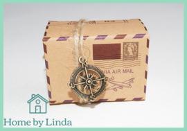 Geschenkdoosjes met kompas 6 cm x 4,5 cm x 3,5 cm (set van 5 stuks)