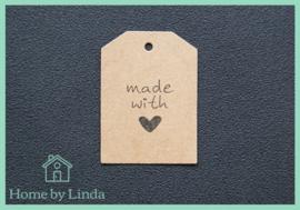 Label Made with bruin kraft 4 cm x 5,5 cm (set van 10 stuks)