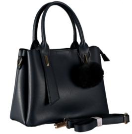 Nicole Brown Schouderhandtas zwart, ecoleder 21 x 26 cm FB330