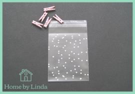 Cellofaan zakjes witte stippen 8 cm x 10 cm (set van 10 stuks)