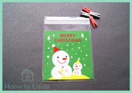 Cellofaan zakjes kerst - sneeuwpoppen 10 cm x 10 cm (set van 10 stuks)