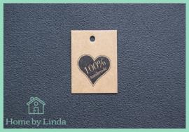 Label hart 100% handmade bruin kraft 3 cm x 4 cm (set van 10 stuks)