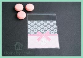 Cellofaan zakjes roze for you 10 cm x 10 cm (set van 10 stuks)