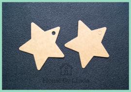 Label ster bruin kraft 6 cm (set van 10 stuks)