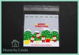 Cellofaan zakjes kerst - kerstmannen 10 cm x 10 cm (set van 10 stuks)