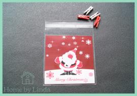 Cellofaan zakjes kerst - kerstman 10 cm x 10 cm (set van 10 stuks)