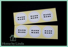 Stickers Hand made rond wit 3,5 cm (set van 6 stuks)