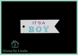 Label it's a boy wit kraft 2,5 cm x 7,5 cm (set van 10 stuks)