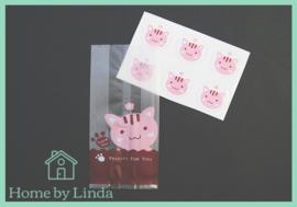 Cellofaan blokzakjes roze kat 7 cm x 15cm  x 4 cm (set van 6 stuks)