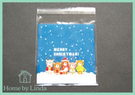 Cellofaan zakjes kerst - kerstberen 10 cm x 10 cm (set van 10 stuks)