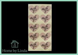 Stickers Thank you hart 4 cm x 3 cm (set van 10 stuks)