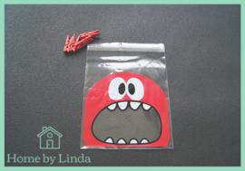 Cellofaan zakjes rode monster 10 cm x 10 cm (set van 10 stuks)