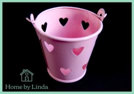 Geschenkemmertje roze met hartjes 6 cm x 5,2 cm x 4,2 cm (per stuk)