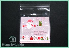 Cellofaan zakjes kerst - kerstman en rendier 10 cm x 10 cm (set van 10 stuks)