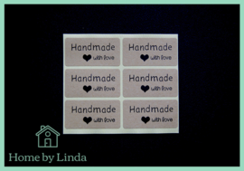 Stickers Hand made with love 4 cm x 2 cm (set van 6 stuks)