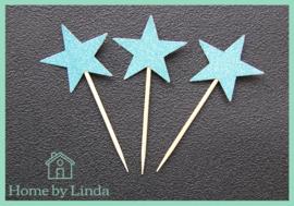 Cupcake topper ster blauw 3 cm x 3 cm (set van 20 stuks)