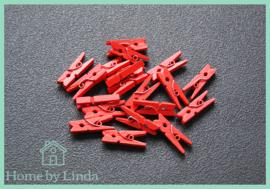 Mini knijpers rood 2,5 cm (set van 20 stuks)