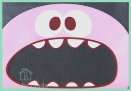 Cellofaan zakjes roze monster 10 cm x 10 cm (set van 10 stuks)