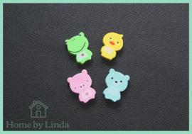 Dieren gummetjes 3 cm x 2 cm (set van 4 stuks)