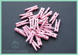 Mini knijpers lichtroze 2,5 cm (set van 20 stuks)