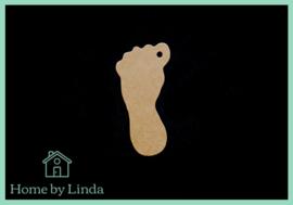 Label (baby) voet bruin kraft 6 cm x 3 cm (set van 10 stuks)