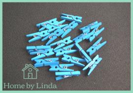 Mini knijpers blauw 2,5 cm (set van 20 stuks)