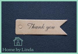 Label Thank You  bruin kraft 7 cm x 2 cm (set van 10 stuks)
