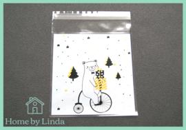 Cellofaan zakjes kerst - kerstbeer 10 cm x 10 cm (set van 10 stuks)