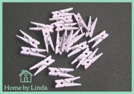 Mini knijpers lichtpaars 2,5 cm (set van 20 stuks)