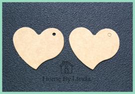 Label hart bruin kraft 4,5 cm x 4 cm (set van 10 stuks)