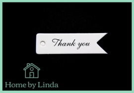 Label Thank You wit kraft 7 cm x 2 cm (set van 10 stuks)