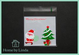 Cellofaan zakjes kerst - kerstman en kerstboom 10 cm x 10 cm (set van 10 stuks)