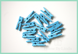 Mini knijpers lichtblauw 2,5 cm (set van 20 stuks)
