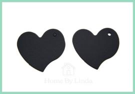 Label hart zwart kraft 4,5 cm x 4 cm (set van 10 stuks)