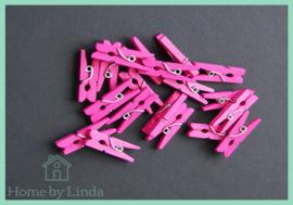 Mini knijpers roze 2,5 cm (set van 20 stuks)