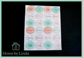 Stickers Thank you ovaal kleur met goud 2,5 cm x 3,5 cm (set van 24 stuks)