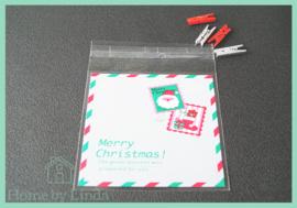 Cellofaan zakjes kerst - kerstkaart 10 cm x 10 cm (set van 10 stuks)