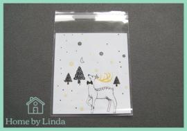 Cellofaan zakjes kerst - kerstrendier 10 cm x 10 cm (set van 10 stuks)