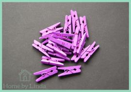 Mini knijpers paars 2,5 cm (set van 20 stuks)